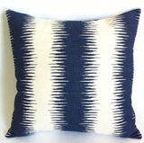 Ikat Stripe Pillow / Blue Decorative Pillows / Cream Decorative Throw Pillow Blue / Decorative Pillows Blue Ikat Pillow Cover - Annabel Bleu