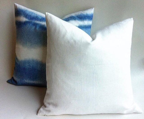 Pure White Linen Pillow / White  Decorative Pillows / Snow White Decorative Throw Pillow / Belgian Linen Pillow Cover - Annabel Bleu