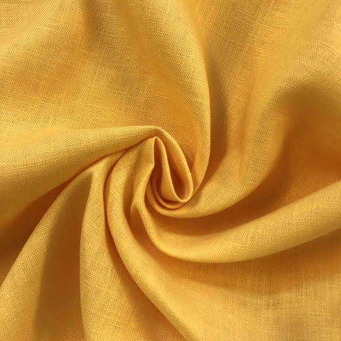 Sunflower Yellow Linen fabric by the Yard / Belgian linen upholstery fabric / Linen Home Decor Fabric - Annabel Bleu