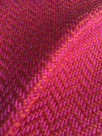 7 yards Pink Orange upholstery fabric / Carnation Grasscloth / Woven Pink Fabric / Heavy weight Upholstery material - Annabel Bleu