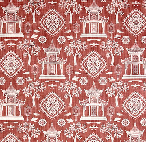 Red Pagoda fabric by the Yard / Linen upholstery fabric / Linen Home Decor Fabric / Chinoiserie Upholstery Fabric / Asian Home Fabric - Annabel Bleu