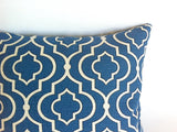 Blue Moroccan Quatrefoil Pillow Cover 18x18 20x20 24x24 26x26 Blue Cream Accent Pillow / Azure Blue Pillow / Decorative Throw Zipper Pillow - Annabel Bleu