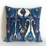 Indigo Ikat Pillow Cover - Annabel Bleu