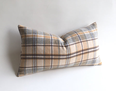 One Fawn Pillow / Woven Wool Caramel, Brown, and Grey Plaid Zipper Pillow cover / Wool Ralph Lauren Pillow Cover - Annabel Bleu