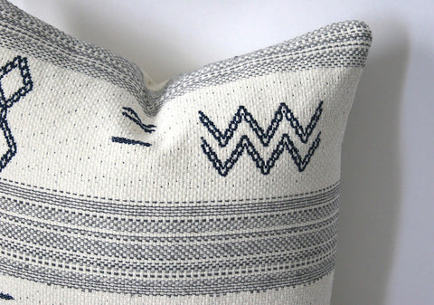 Ivory and Indigo Minimalist Mudcloth Pillow Cover: Available in 10 Sizes - Annabel Bleu
