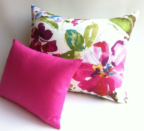 Abstract Fuchsia Floral Decorative Throw Zipper Pillow Cover 20x26 Ivory Pink Gold Accent Cushion cover / Painterly Pillow Case / Bed Pillow - Annabel Bleu