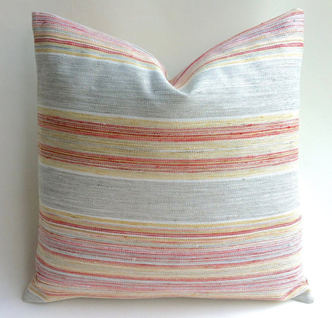 Grey and Coral Stripe Pillow Cover 20x20 22x22 or lumbar Pillow cover Grey Yellow and Coral Pillow Bohemian Cushion cover - Annabel Bleu