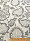 7 yards Floral Linen Fabric / Grey Linen Upholstery / Drapery Fabric / Woven Grey Fabric / Heavy weight Fabric / Gray Linen - Annabel Bleu