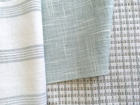 7 yards Aqua White Linen Fabric / Stripe Linen Upholstery / Drapery Fabric / Woven Aqua Fabric / Heavy weight Fabric / Light Blue Linen - Annabel Bleu