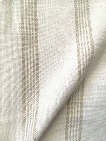 7 yards Beige Stripe Linen Fabric / Flour Sack Fabric / Drapery Fabric / Woven White Fabric / Heavy weight Fabric / French Country Decor - Annabel Bleu