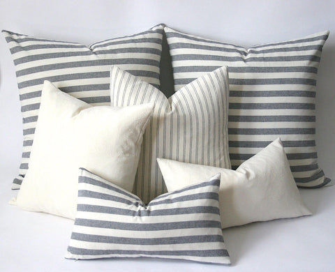 Woven Navy & Cream French Ticking Stripe Pillow cover Schoolhouse cover Euro pillow cover 26x26 28x28 industrial pillow case - Annabel Bleu