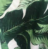 LINEN Dark Green Banana Leaves Beverly Hills Hollywood Regency Fabric by the Yard Indoor Only - Annabel Bleu