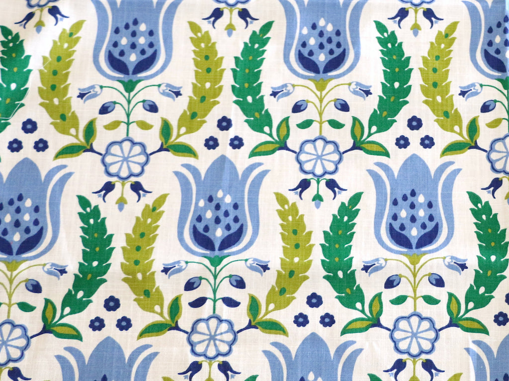Tulip Fabric By The Yard Blue Home Decor Dutch Vintage