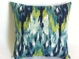 One Turquoise Ikat Decorative Throw Zipper Pillow Cover Aqua Blue Ikat Print 16x16 20x20 Inch Pillow Cover Lime cushion Cover - Annabel Bleu