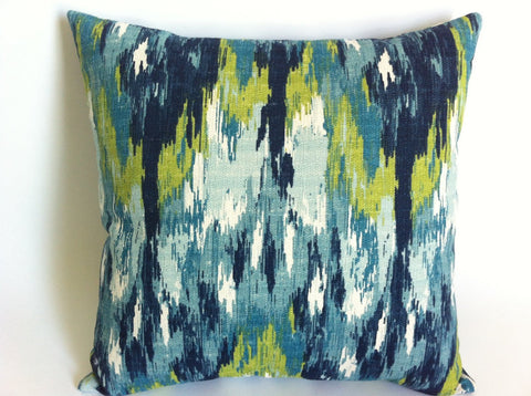10 sizes Available: One Lime and Turquoise Watercolor Ikat Decorative Throw Zipper Pillow Blue Woven Barkcloth pillow cover Rain Pillow - Annabel Bleu