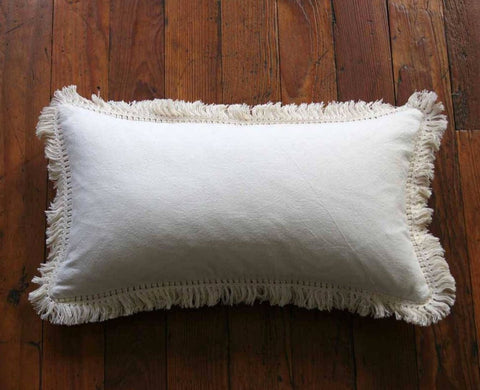Simple Cream Linen Pillow Cover with Boho Cream Fringe or Ivory Pom poms - Annabel Bleu