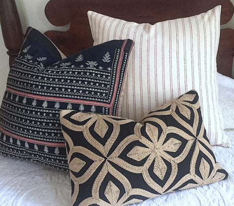 African Kuba Cloth Embroidered Pillow Cover / Black and Tan Lumbar Pillow Cover / Black Mudcloth pillow / 12x18 16x16 18x18 22x22 26x26 - Annabel Bleu