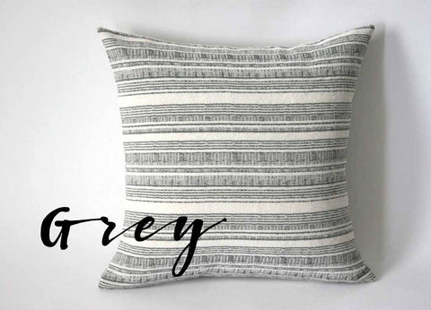 One Woven Hemp Navy or Grey Hmong Bohemian Stripe Zippered Pillow cover - Annabel Bleu
