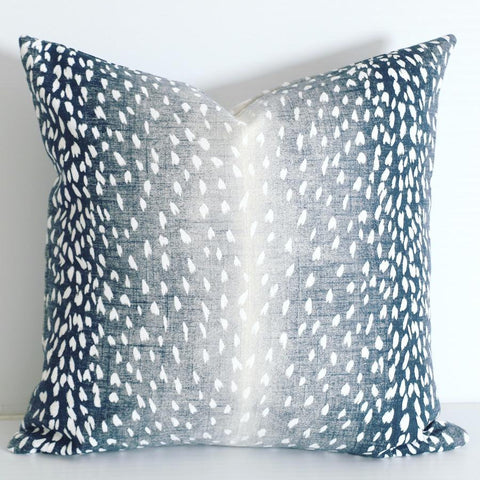 Navy Blue Ombré Fawn Pillow Cover / Available in 10 Sizes - Annabel Bleu