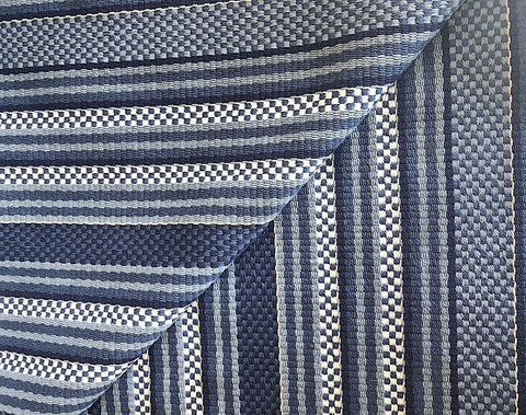 Blue Ivory Striped Upholstery Fabric by the yard / Textured Woven Fabric / Checked Upholstery / Heavyweight Backed Upholstery - Annabel Bleu
