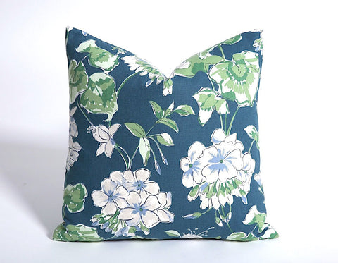 Blue Geranium Pillow Cover / Invisible Zipper Pillow cover / White Blue Grey Pillow Cover / Lumbar pillow / Floral Pillow Cover - Annabel Bleu