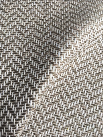 7 yards Taupe upholstery fabric / Taupe White Grasscloth / Woven Beige Fabric / Heavy weight Upholstery material - Annabel Bleu