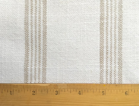 Beige Stripe Linen Fabric by the yard / Flour Sack Fabric / Drapery Fabric / Woven White Fabric / Heavy weight Fabric / French Country Decor - Annabel Bleu