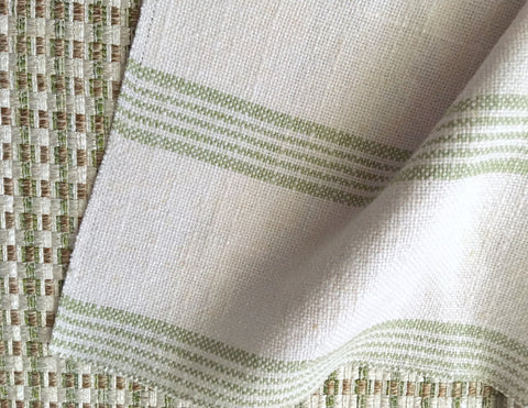 Green Stripe Linen Fabric / Flour Sack Fabric / Drapery Fabric / Woven White Fabric / Heavy weight Fabric / French Country Decor - Annabel Bleu