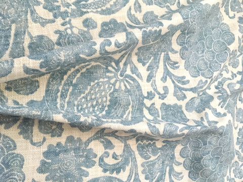 7 yards Blue Batik Linen Fabric / Blue Linen Upholstery / Drapery Fabric / Woven Blue Cream Fabric / Heavy weight Fabric / Blue Linen - Annabel Bleu