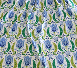 Tulip Fabric by the yard / Blue Home Decor Fabric / Dutch Tulip Fabric / Vintage Floral Fabric / Wide Blue Green Fabric - Annabel Bleu