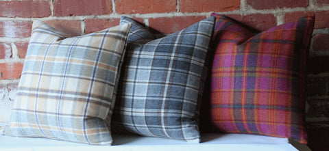 Plaid Pillow cover / Wool Plaid Tartan Pillow Cover / Ralph Lauren Pillow / Fawn Pillow / Fuchsia Pillow case / Zippered Cushion Cover - Annabel Bleu