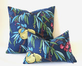 Navy Lumbar Pillow Cover / Yellow Navy Decorative Pillow Cover / Navy Teal Lumbar Pillow 12x18 12x21 16x24 / Raspberry Navy Pillow - Annabel Bleu