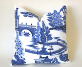 Nanjing pillow cover / Blue and White Pillow cover / Schumacher Nanjing Pillow Cover / Chinoiserie Pillow Cover - Annabel Bleu