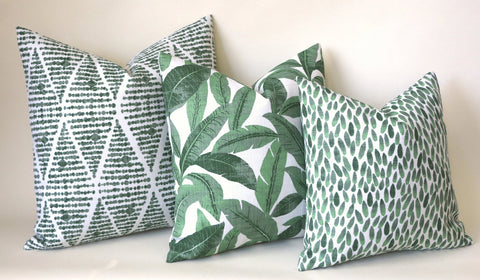 Santa Cruz Collection: Green Outdoor Pillow Covers / Outdoor Pillow cover / Green Patio Pillow / Banana Leaf Pillow Cover - Annabel Bleu