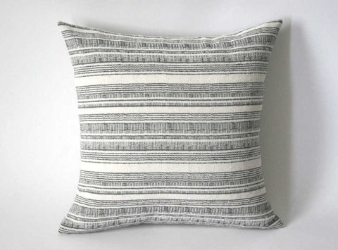 Grey Hmong Pillow cover / Boho 12x18 / Bohemian Pillow 21x21 / 24x24 Hmong Pillow / Grey Accent Pillow / Striped Bohemian Cushion cover - Annabel Bleu