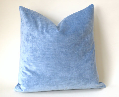 Ice Blue Vintage Velvet Pillow Cover - Annabel Bleu