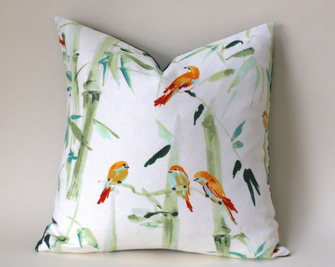 Chinoiserie Pillow / Aqua Orange 20x20 / 20x20 Cushion Cover / 20x20 Bamboo Pillow Cover / Green 20x20 Aqua / 20x20 Sofa Pillow Cover - Annabel Bleu