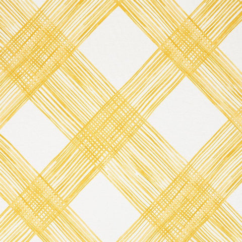 "Checked Plaid Schumacher Fabric by the yard / 54"" wide Fabric / Light Yellow fabric by the yard / Home Decor Fabric / Yellow Schumacher Fabr - Annabel Bleu"