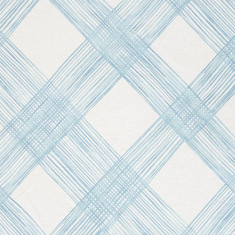 "Checked Plaid Schumacher Fabric / 54"" wide Fabric / Light Blue fabric by the yard / Home Decor Fabric / Blue Schumacher Lattice - Annabel Bleu"
