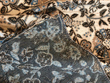 Tapestry Upholstery Remnant / Blue Brown Beige Fabric Remnant / Home Decor Fabric / Furniture Fabric - Annabel Bleu