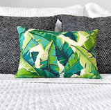 Miami Banana Leaves Pillow Cover / Indoor Outdoor Teal Navy pillow Cover / Beverly Hills Pillow Cover - Annabel Bleu