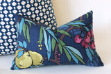 Art Nouveau Fruit Pillow Cover / Berry Citrine Navy Decorative Pillow Cover / Navy Teal Pillow 12x18 12x21 16x16 18x18 22x22 24x24 - Annabel Bleu