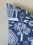 Chinese Temple Pillow / Blue and white pillow / Asian pillow / blue pillow / Chinoiserie pillow / Living room Pillow / Pagoda Pillow Case - Annabel Bleu