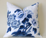 Pyne Hollyhock pillow cover / Indigo Pillow cover / Schumacher Pyne Pillow Cover / Indigo Rose Pillow Cover / Indigo Pyne Hollyhock - Annabel Bleu
