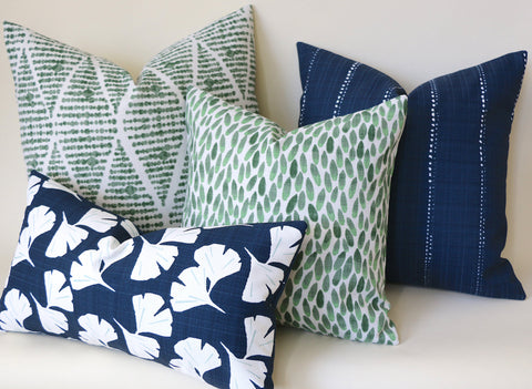 Santa Cruz Collection: Blue and Green Outdoor Pillow Covers / Navy Striped Pillow cover / Green Patio Pillow / Banana Leaf Pillow Cover - Annabel Bleu