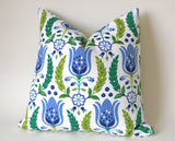 Dutch Tulip Pillow Cover, Decorative Throw Pillow Covers, Euro Pillow Sham 16 x 16, 18 x 18, 20 x 20, 22 x 22, 24 x 24, 26 x 26 - Annabel Bleu