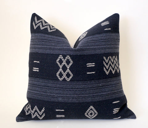 Black 24x24 Pillow Covers + 9 Sizes / 24 x 24 Mudcloth Euro Sham / 24x24 Decorative Throw Pillow / Black Mudcloth Pillow / Mud Cloth 26x26 - Annabel Bleu