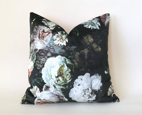 Osborne & Little Pellestrina Pillow Cover / 20x20 Black Velvet Pillow / Pellestrina Roses Pillow Cover - Annabel Bleu