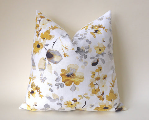 Yellow Grey Abstract Cushion Cover / Designer Vern Yip Blossom Pillow / Asian Pillow Cover / Grey Yellow Pillow Case - Annabel Bleu