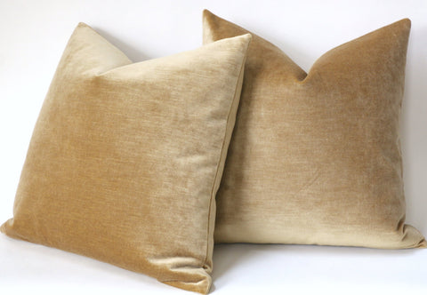 Antique Gold Pillow Cover / Gold Pillow Cover / Vintage Velvet Pillow / Solid Mustard Gold Cushion Cover - Annabel Bleu